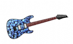 Electric Guitar Design With Blue Pile Of Skulls Motif  External Vinyl Car Sticker 150x50mm